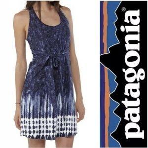 Patagonia Tie Dye Blue White Midi Bra Top Dress